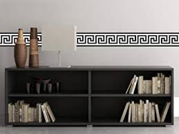 Amazon Com Sunny Decals Greek Key Wall Border Fabric Wall Decal Set Of 2 25 X 6 6 Black White Home Kitchen