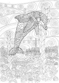 Happy Dolphin With High Details Adult Antistress Coloring Page