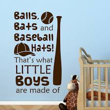 Nursery Sports Wall Decal Balls Bats Baseball Hats Little Boy