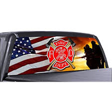 Amazon Com Vuscapes Fire Fighter 9 Rear Window Truck Graphic Decal Suv View Thru Vinyl Automotive