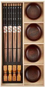 bamboo chopsticks gift set for 4 wooden