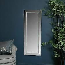 tall slim silver framed bevelled wall