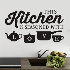 This Kitchen Is Seasoned With Love Vinyl Wall Decal Quotes Wall Stickers Kitchen Decals Home Decor Decals Walmart Com Walmart Com