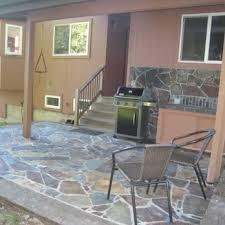 irregular slate patio set in mortar on