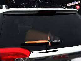 Lightsaber Wiper Covers Attach To Rear Windshield Wiper Blade To Deflect Incoming Raindrop Attacks