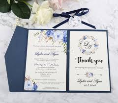 Compre Invitacion De La Boda Azul Marino Bolsillo Con La Tarjeta
