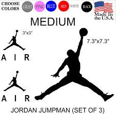 Set Michael Jordan Jumpman Basketball Wall Decal Sticker Sports Decor 7 W X7 5 H