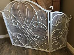 painted metal fireplace screen french