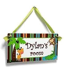 Amazon Com Custom Baby Boy Nursery Door Sign For Kids Bedroom Jungle Themed Decor Handmade