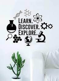 Amazon Com Learn Discover Explore Original Quote Decal Sticker Wall Vinyl Art Home Room Decor Teacher School Classroom Science Atom Beaker Dna Gears Home Kitchen