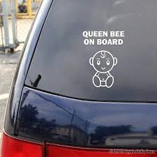 Queen Bee On Board Happy Baby Decal White Gloss Car Vinyl Sticker 6 Rear Window 3 88 Picclick