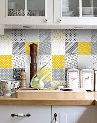 Amazon Com Moonwallstickers Tiles Stickers Decals Packs With 32 Tiles 3 9 X 3 9 Inches Decorative Wall Vinyl Decals For Backsplash Decor Yellow And Gray Tiles Home Kitchen
