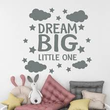 Dream Big Little One Wall Decal Baby Room Decor Cloud And Etsy