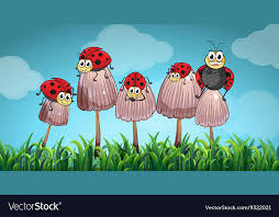 mushrooms in the garden royalty free vector