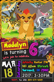 Lion Guard Birthday Party Invitation Found On Etsy From Guardia