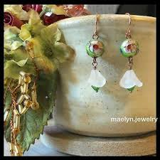 cloisonne flower earrings swarovski