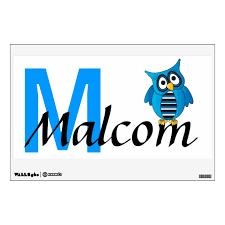 Blue Owl Boy Name Wall Art Personalize Wall Sticker Zazzle Com