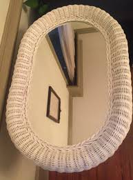 extra large oval white wicker mirror