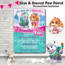 Skye And Everest Paw Patrol Birthday Invitationpaw Patrolpaw Con