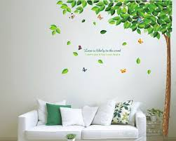 Large Tall Tree Green Leaves Wall Decal Vinyl Tree Art Stickers