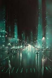 Oil Painting Original Painting On Canvas Cyberpunk City Art Etsy