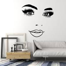 Vinyl Wall Decal Woman Face Eyelashes Eyes Lips Beauty Studio Stickers Wallstickers4you
