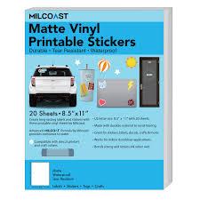 Milcoast Matte Waterproof Printable Vinyl Full Sheet Sticker Paper Labels Adhesive Inkjet Laser Printer And Die Cut Cutter Compatible For Decals Stickers Crafts 20 Sheets Walmart Com Walmart Com
