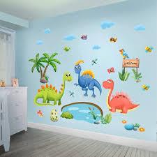 Cute Cartoon Dinosaur Wall Painting Kindergarten Wall Decoration Paper Kids Bedroom Room Layout Self Adhesive Wall Stickers Wall Stickers Aliexpress