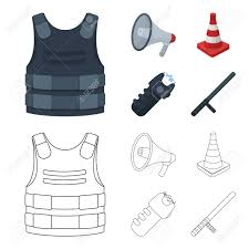 Bulletproof Vest Megaphone Cone Of Fencing Electric Shock Royalty Free Cliparts Vectors And Stock Illustration Image 104812178