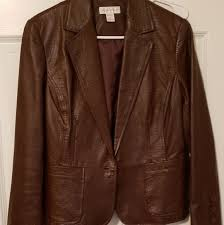 womens brown faux leather coat