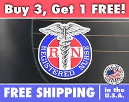 Rn Decal Bumper Sticker Registered Nurse Car Decal Rn Caduceus Logo Ebay