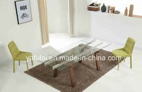 glass extension dining table solid wood