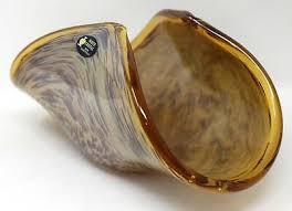 murano glass bowl white crystal hand