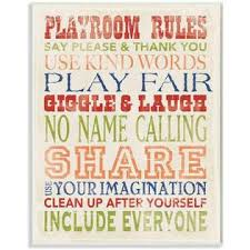 The Kids Room By Stupell Stupell Home Decor Playroom Rules In Four Colors Canvas Wall Art 16 X 20 Multi Color