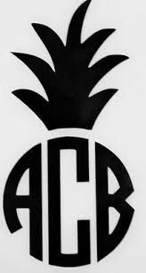Pineapple Initials Monogram Cups Laptops Colors Car Window Vinyl Decal Sticker Ebay