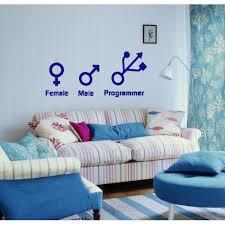 Shop Female Male Programmer Wall Art Sticker Decal Blue Overstock 11883324