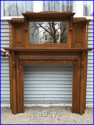 antique solid oak fireplace mantel with