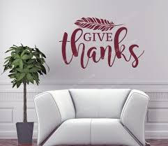 Fall Wall Art Sticker Cursive Give Thanks Feather Decor Vinyl Decal