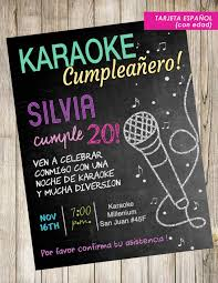English Espanol Karaoke Digital Card Invitation Pizarra Tiza