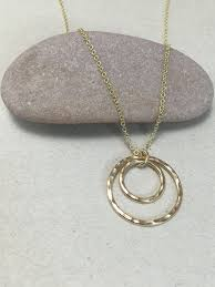 solid 9ct gold double circle necklace