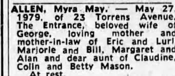 Obituary for Myra ALLEN - Newspapers.com