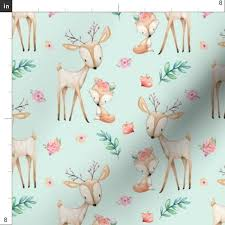 sweet deer fox soft mint woodland