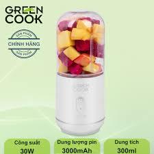 Máy xay sinh tố (xay được đá) cầm tay pin sạc Green Cook 300ml ...
