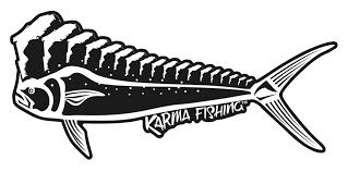 Florida Mahi 12 Car Decal Black White Karma Fishing Company