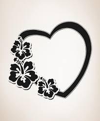 Vinyl Wall Decal Sticker Hawaiian Flower Heart Os Aa358 Stickerbrand