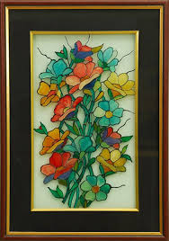 flower sheen glass painting painting