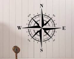 Compass Rose Wall Decal Vinyl Sticker North South By Fabwalldecals Rose Wall Nautical Wall Decal Compass Rose