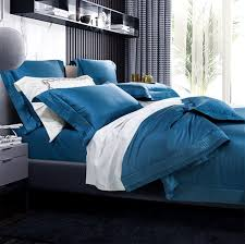 solid blue bedding set full queen king