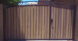 Iron And Wood Gates Decorative Arched Rv Gate With Uneven Split Of Gates