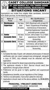 Cadet College Sanghar / Tando Adam Jobs 2019 for DAE / Maintenance  Supervisor and Accounts Clerks on 14 April, 2019 | Paperpk Jobs